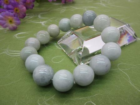 【送料無料】本翡翠 共仕立 15mm ブレス 数珠 桐箱入り ブレス 数珠 仏具(H)