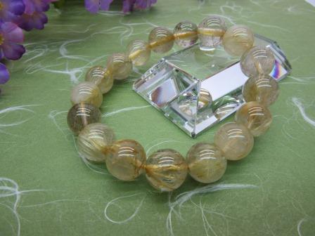 金線水晶(ルチルコォーツ) 共仕立 12mm ブレス 数珠 桐箱入【送料無料】ブレス 数珠 仏具(H)
