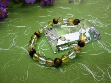 ゴールドルチル&シトリン(黄水晶)&タイガーアイ(虎目石)・水晶 ブレス腕輪 天然石