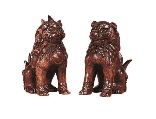 【木彫り こま犬 4寸 塗り】神棚 神具 木製 法要 法亊 お祭り (H)