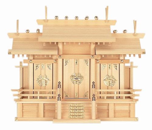【送料無料】【屋根違い三社・大 木曽ひのき】神棚 神具 法要 内祭 法亊 お祭り(H5)