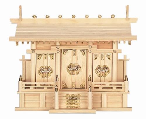 【送料無料】【通し屋根三社・大 ひのき】神棚 神具 法要 内祭 法亊 お祭り(H37)