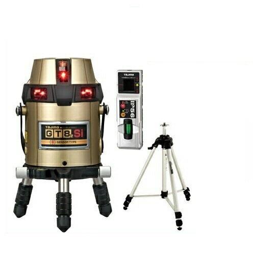 タジマツール フルライン電子整準高輝度レーザー墨出し器(センサー方式) GT8ZS-ISET(縦4方向矩・横全周水平ライン・地墨・鉛直十字)(受光器・三脚セット)