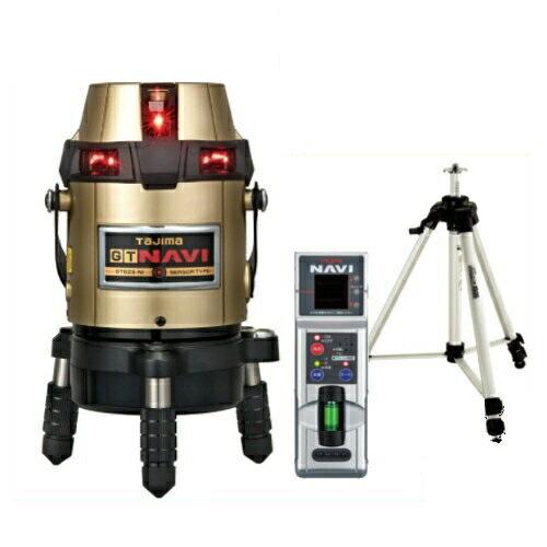 タジマツール フルライン電子整準高輝度レーザー墨出し器(自動追尾NAVI搭載・センサー方式)(受光器・三脚付き) GT8ZS-NISET(縦4方向矩・横全周水平ライン・地墨・鉛直十字)