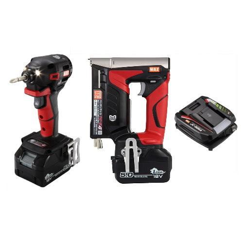 マックス 18V充電工具コンボセット 充電式インパクトドライバ(赤)[PJ-ID152R-B2C/1850A]&T3ステープル用充電式タッカ[TG-Z4]