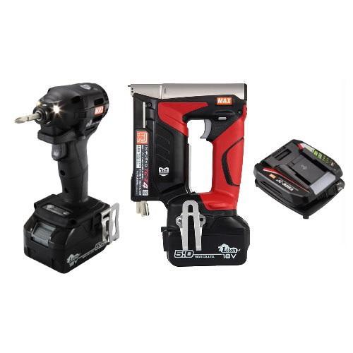 マックス 18V充電工具コンボセット 充電式インパクトドライバ(黒)[PJ-ID152K-B2C/1850A]&T3ステープル用充電式タッカ[TG-Z4]