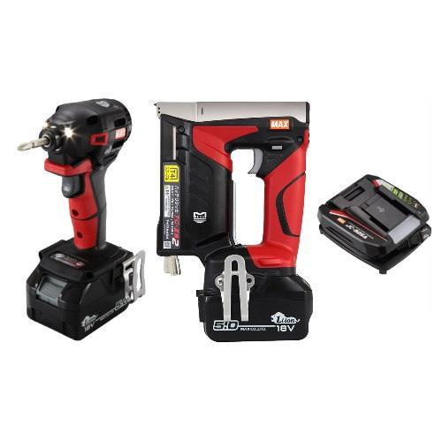 マックス 18V充電工具コンボセット 充電式インパクトドライバ(赤)[PJ-ID152R-B2C/1850A]&T4ステープル用充電式タッカ[TG-ZB2]