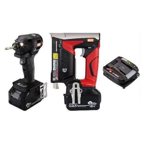マックス 18V充電工具コンボセット 充電式インパクトドライバ(黒)[PJ-ID152K-B2C/1850A]&T4ステープル用充電式タッカ[TG-ZB2]