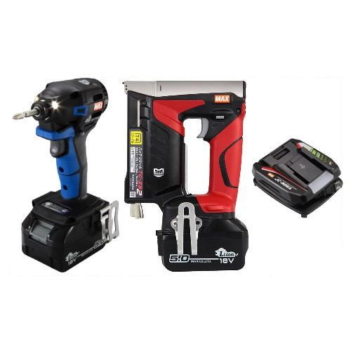 マックス 18V充電工具コンボセット 充電式インパクトドライバ(青)[PJ-ID152B-B2C/1850A]&T4ステープル用充電式タッカ[TG-ZB2]