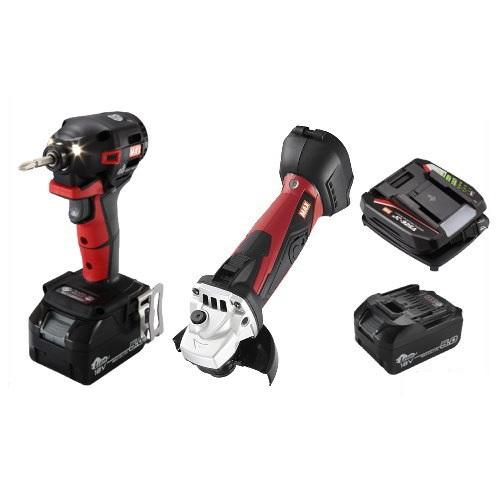 マックス 18V充電工具コンボセット 充電式インパクトドライバ(赤)[PJ-ID152R-B2C/1850A]&充電式ディスクグラインダ[PJ-DG101]