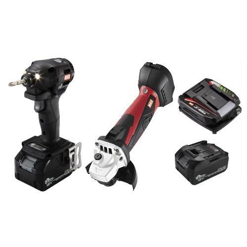 マックス 18V充電工具コンボセット 充電式インパクトドライバ(黒)[PJ-ID152K-B2C/1850A]&充電式ディスクグラインダ[PJ-DG101]