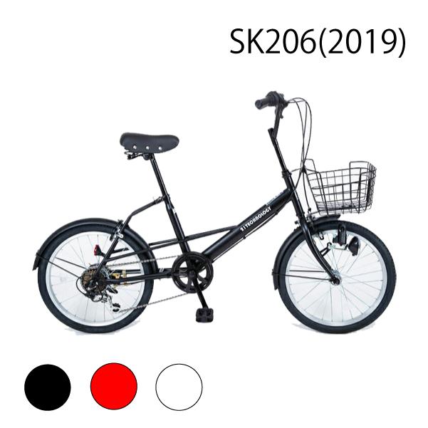 20インチ 小径車ミニベロ シマノ製6段ギア装備 シティサイクル 街乗り 鍵・カゴ付き 送料無料 SK206