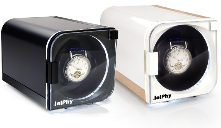 LED搭載でお気に入りの腕時計を綺麗に演出 Jelphy 超人気 ワインディングマシーン LED搭載 即納 12パターンの回転モード マブチモーター 1本巻 時計 KA101 送料無料 あす楽 自動巻き