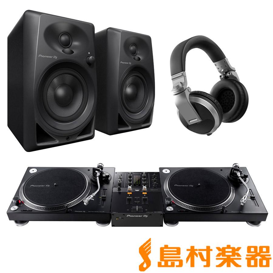 Pioneer PLX-500-K + DJM-250MK2(ミキサー) + DM-40-B(スピーカー) + HDJ-X5-S(ヘッドホン) DJセット 【パイオニア】