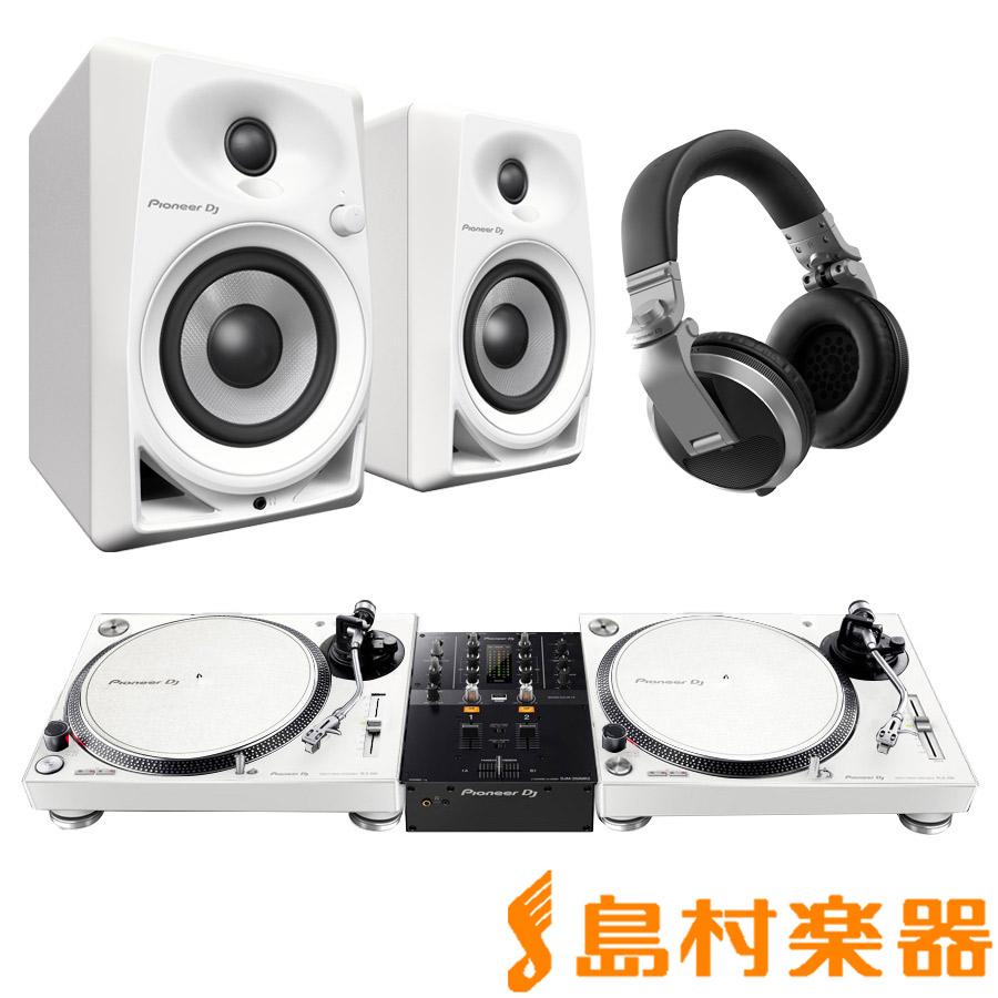 Pioneer + DJセット HDJ-X5-S(ヘッドホン) PLX-500-W DM-40-W(スピーカー) 【パイオニア】 + + DJM-250MK2(ミキサー)