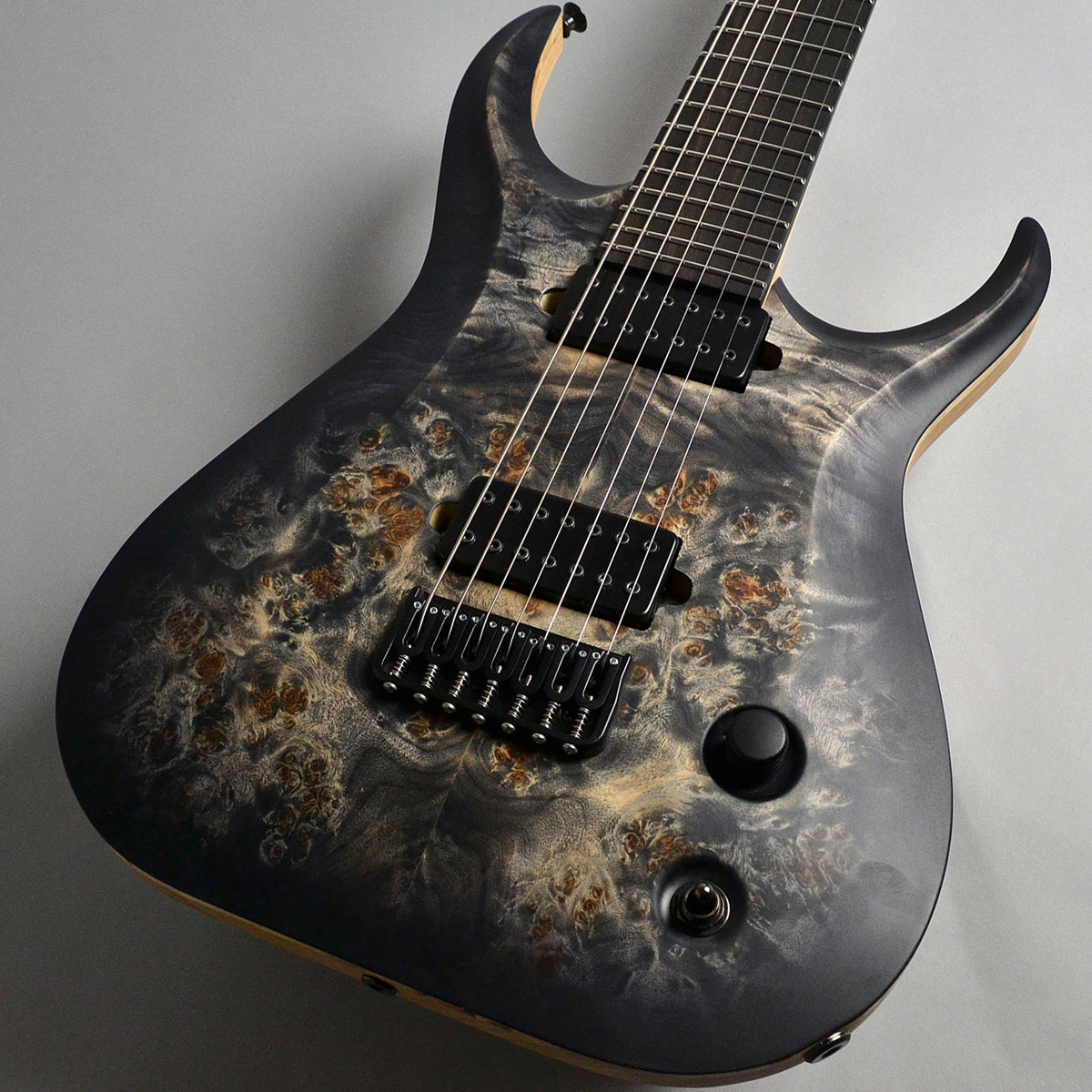 SKERVESEN GUITARS Raptor 7 Poplar Burl Curved Top Black Burst Graphite 7弦ギター 【スケルヴェセン ギターズ】【新宿PePe店】