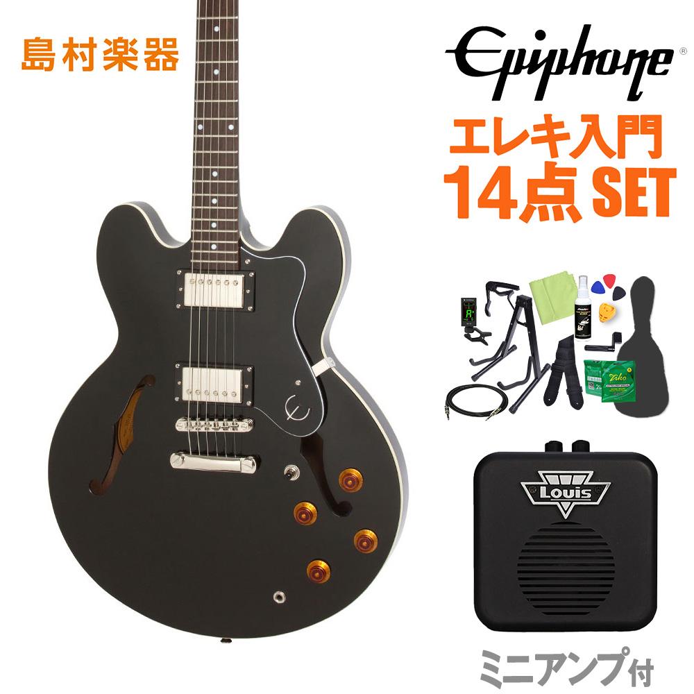 Epiphone Dot Ebony エレキギター 初心者14点セット ミニアンプ付き ドット セミアコ 【エピフォン】【オンラインストア限定】