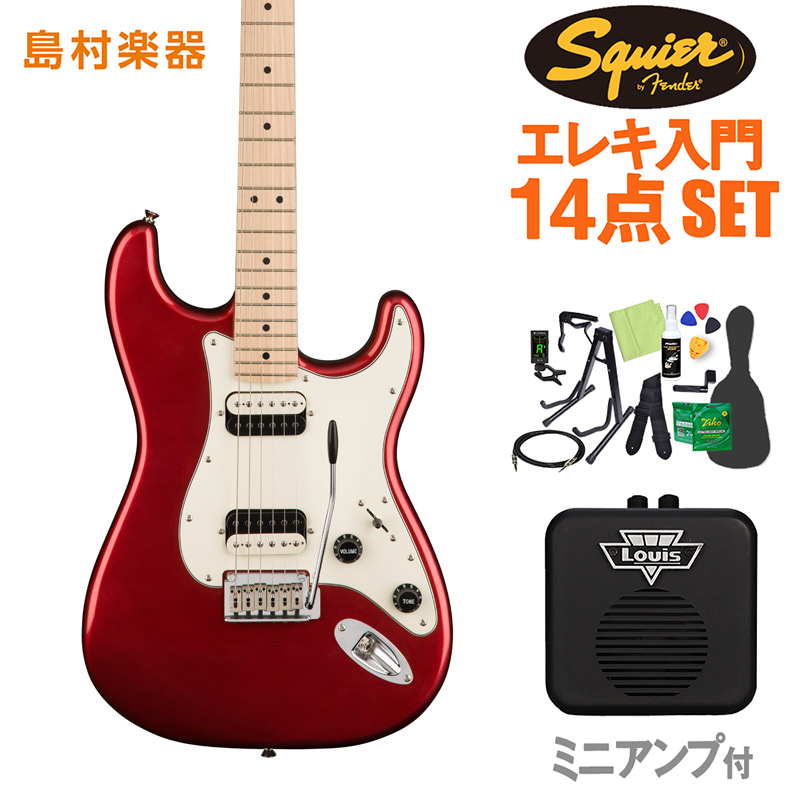 Squier by Fender Contemporary Stratocaster HH Dark Metallic Red エレキギター 初心者14点セット 【ミニアンプ付き】 ストラトキャスター 【スクワイヤー / スクワイア】【オンラインストア限定】