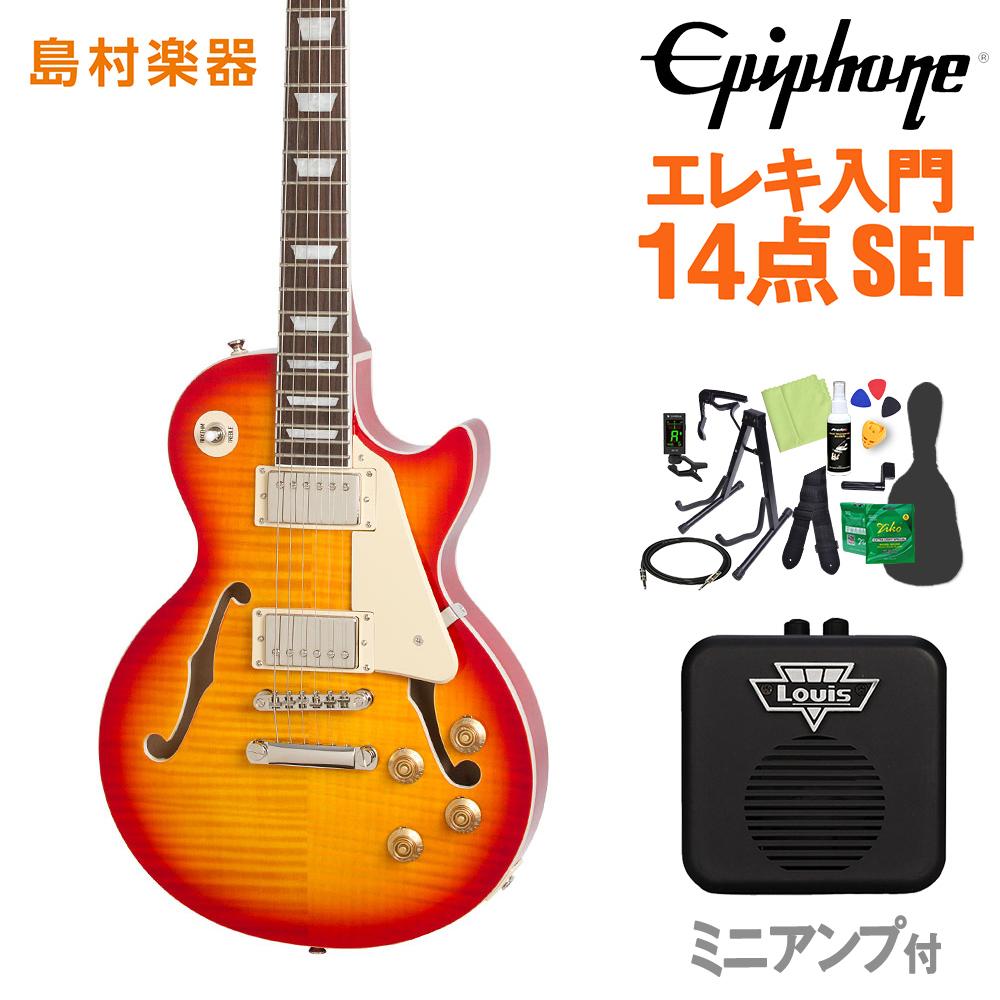 Epiphone Les Paul ES PRO Faded Cherry エレキギター 初心者14点セット 【ミニアンプ付き】 レスポール セミアコ 【エピフォン】【オンラインストア限定】