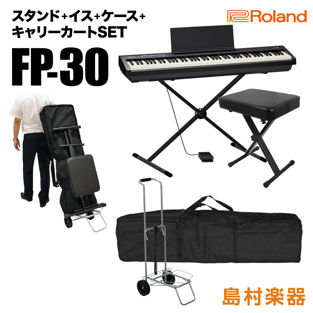 Roland FP-30 BK Xスタンド・Xイス・ケース・キャリーカートセット 電子ピアノ 88鍵盤 【ローランド FP30】【オンライン限定】【別売り延長保証対応プラン:E】