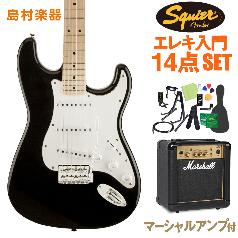 Squier by Fender Affinity Stratocaster BLK エレキギター 初心者14点セット 【マーシャルアンプ付き】 【スクワイヤー / スクワイア】【オンラインストア限定】