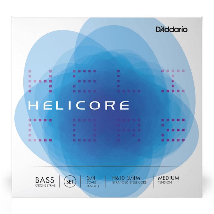 D'Addario H610 3/4M コントラバス弦 Helicore Orchestral Bass strings ミディアムテンション 3/4スケール セット弦 【ダダリオ】