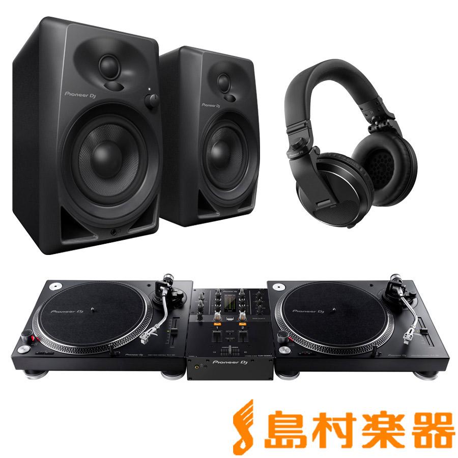 Pioneer DJ PLX-500-K + DJM-250MK2(ミキサー) + DM-40-B(スピーカー) + HDJ-X5-K(ヘッドホン) DJセット 【パイオニア】
