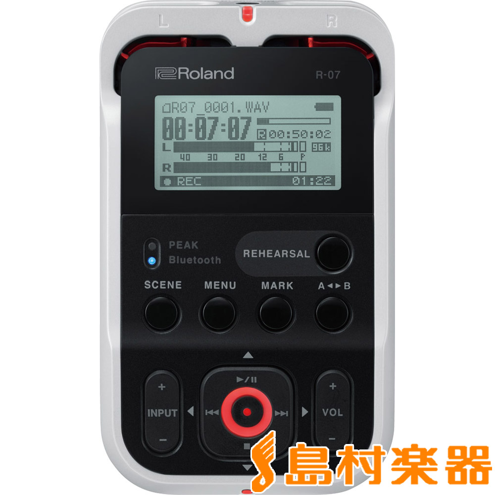 【数量限定USBケーブルプレゼント!】 Roland R-07 (ホワイト) High Resolution Audio Recorder ハンディ レコーダー ハイレゾ対応 【ローランド】