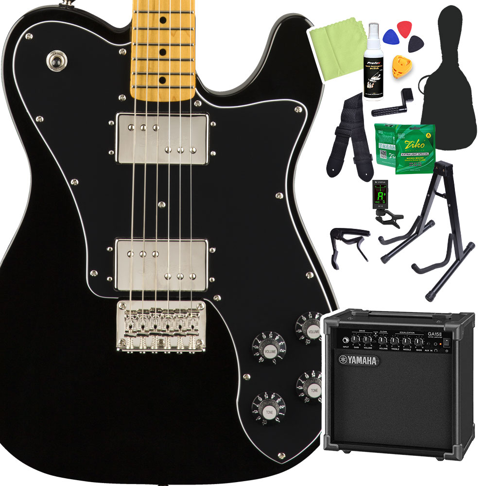 Squier by Fender Classic Vibe '70s Telecaster Deluxe, Black 初心者14点セット 【ヤマハアンプ付き】 エレキギター テレキャスター 【スクワイヤー / スクワイア】