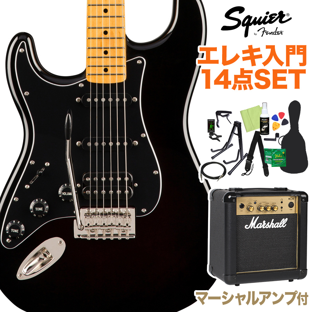 Squier by Fender Classic Vibe '70s Stratocaster HSS Left-Handed, Black 初心者14点セット 【マーシャルアンプ付】 エレキギター レフトハンド 【スクワイヤー / スクワイア】