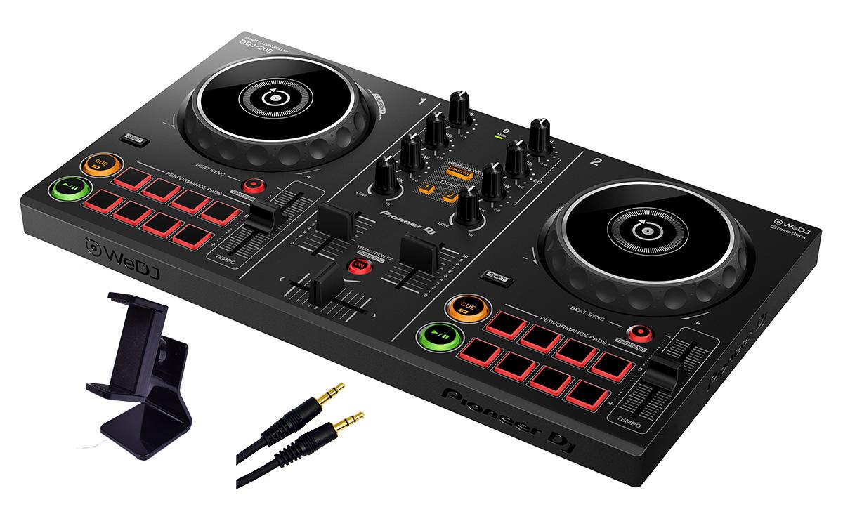 Pioneer DJ DDJ-200 ステレオミニ接続ケーブル、スマホスタンドセット スピーカー接続用ケーブル付き! 【パイオニア】