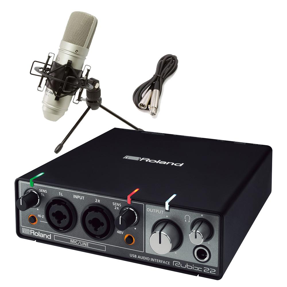 Roland rubix22 + TM-80 高音質配信・録音セット TASCAMコンデンサーマイク一式付属 動画配信 【ローランド】