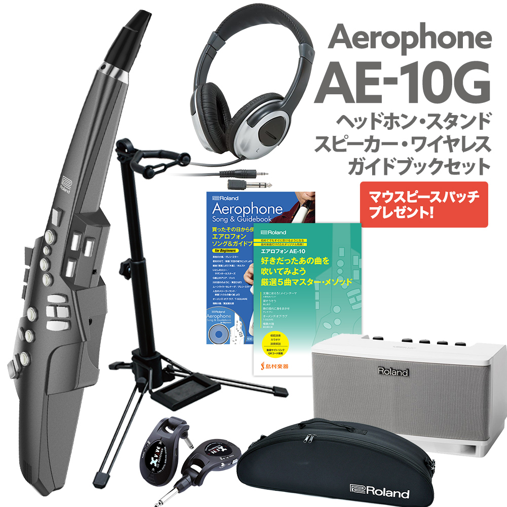 Roland AE-10G ワイヤレス接続高音質スピーカー付き ヘッドホン スタンド 公式ガイドブック セット ウインドシンセサイザー 【ローランド エアロフォン】