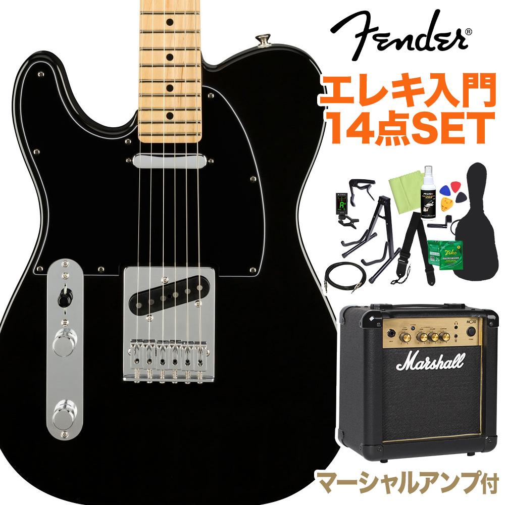 Fender Player Telecaster Left-Handed Maple Fingerboard Black 初心者14点セット 【マーシャルアンプ付き】 テレキャスター レフトハンド 【フェンダー】【オンラインストア限定】
