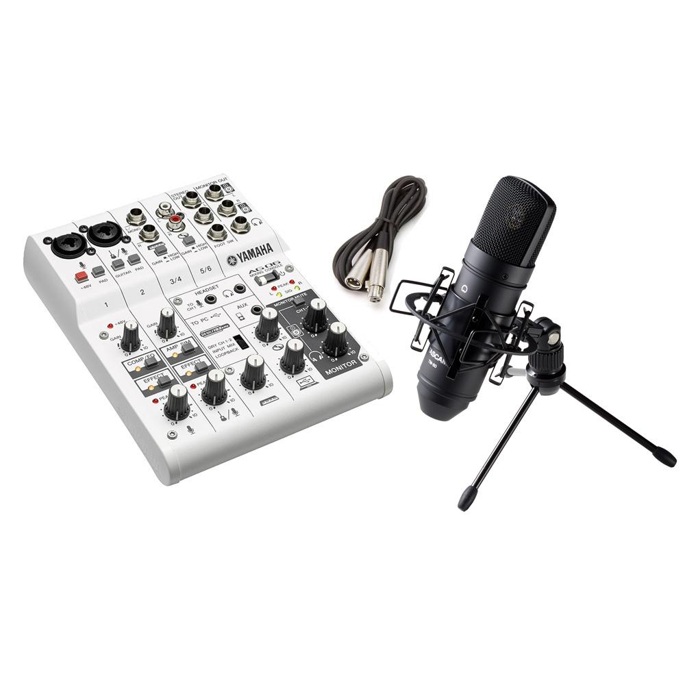 YAMAHA AG06 + TM-80(B) 高音質配信 録音セット TASCAMコンデンサーマイク一式付属 動画配信 【ヤマハ】