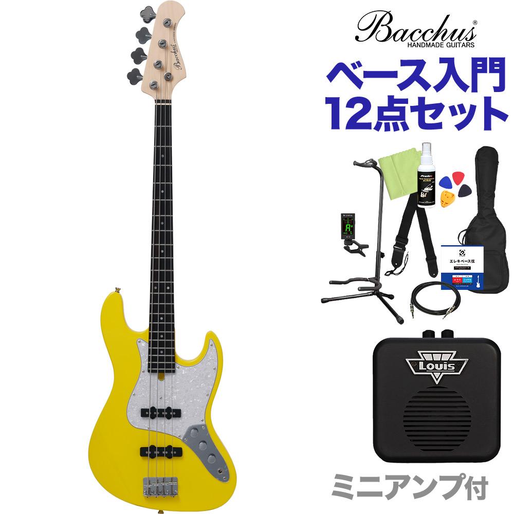 Bacchus WJB-330R YLW ベース 初心者12点セット 【ミニアンプ付】 ジャズベースタイプ 【バッカス】
