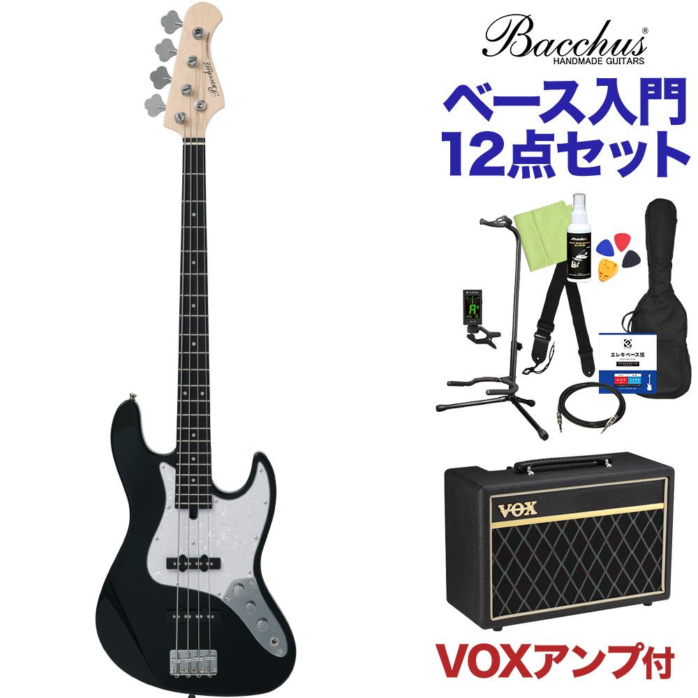 Bacchus WJB-330R BLK ベース 初心者12点セット 【VOXアンプ付】 ジャズベースタイプ 【バッカス】