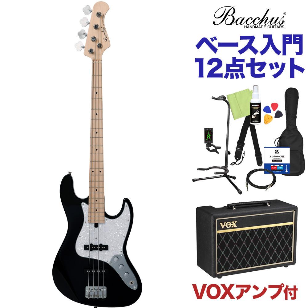 Bacchus WJB-330M BLK ベース 初心者12点セット 【VOXアンプ付】 ジャズベースタイプ 【バッカス】