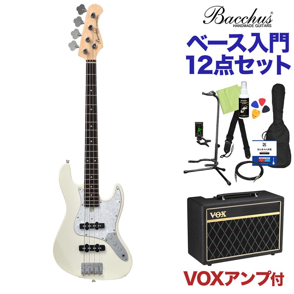 Bacchus WJB-Mini WH ベース 初心者12点セット 【VOXアンプ付】 ジャズベースタイプ ミニサイズ 【バッカス】