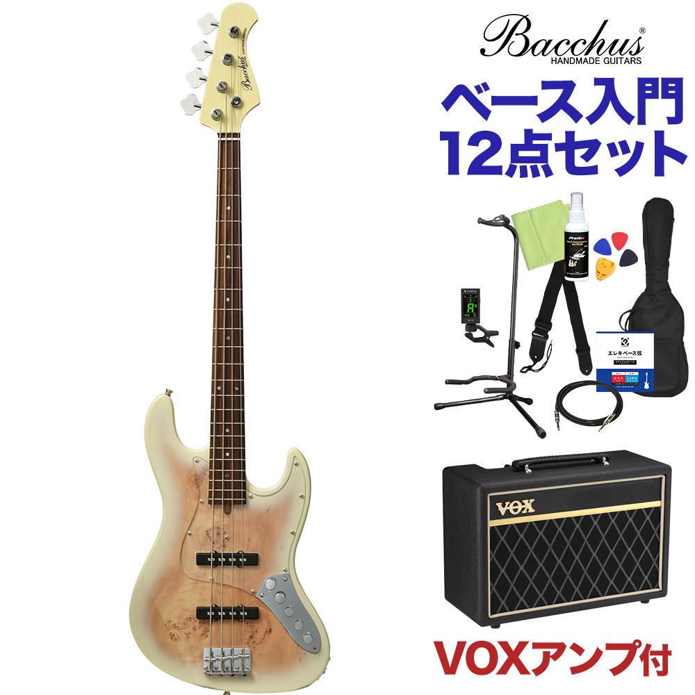 Bacchus WJB-BP/Act BD-B ブロンドバースト ベース 初心者12点セット 【VOXアンプ付】 ジャズベースタイプ 【バッカス】