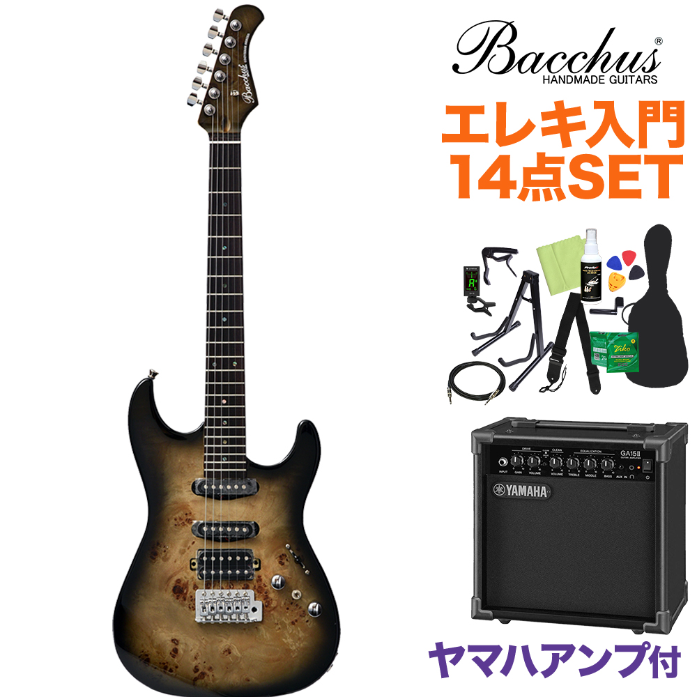 Bacchus GS-mini-BP/R BK-B エレキギター初心者14点セット 【ヤマハアンプ付き】 ブラックバースト 【ミニサイズ】 【バッカス】【オンラインストア限定】