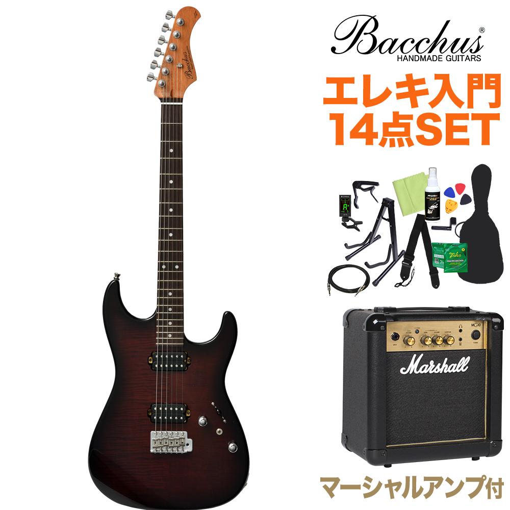 Bacchus G-STUDIO FM-HH/R BR-B エレキギター初心者14点セット【マーシャルアンプ付き】 ブラウンバースト 【バッカス】【オンラインストア限定】