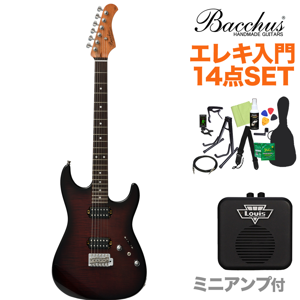 Bacchus G-STUDIO FM-HH/R BR-B エレキギター初心者14点セット 【ミニアンプ付き】 ブラウンバースト 【バッカス】【オンラインストア限定】
