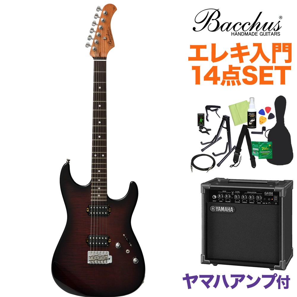 Bacchus G-STUDIO FM-HH/R BR-B エレキギター初心者14点セット 【ヤマハアンプ付き】 ブラウンバースト 【バッカス】【オンラインストア限定】