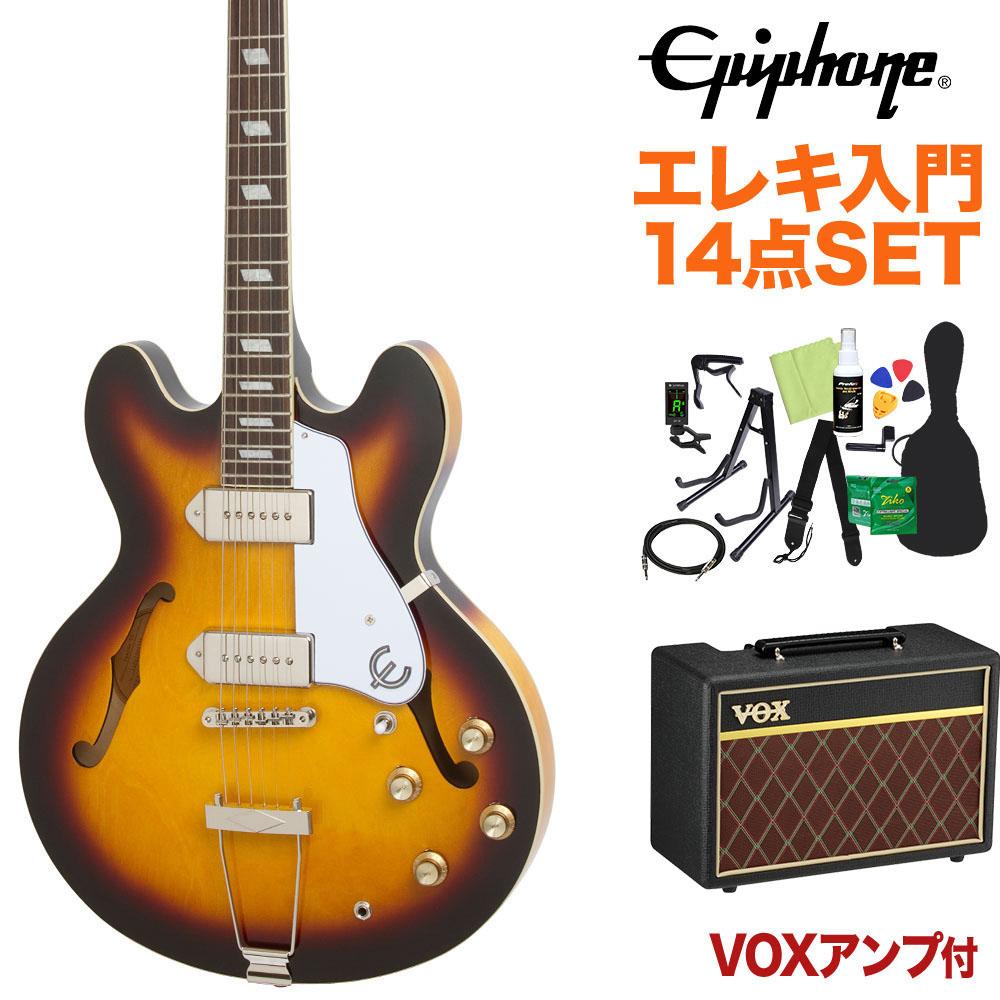 <title>Epiphone Casino Vintage Sunburst エレキギター 初心者14点セット VOXアンプ付き フルアコ カジノ 今だけスーパーセール限定 エピフォン</title>