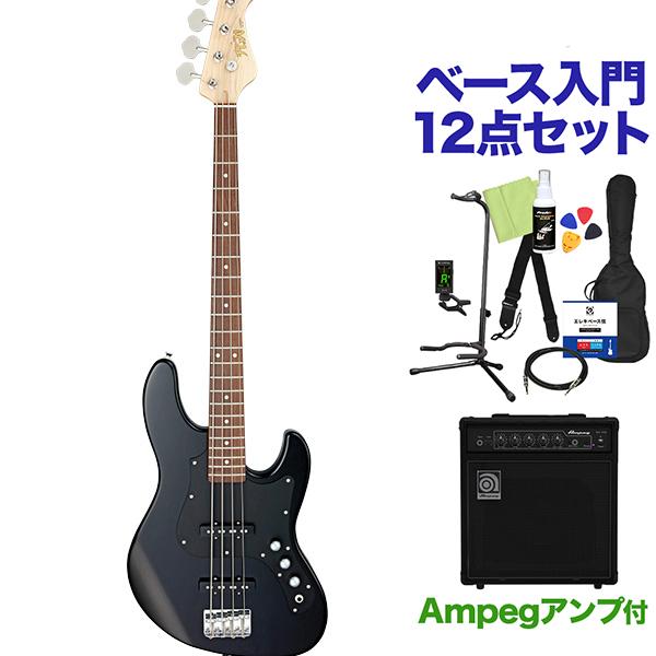 FUJIGEN BMJ-G/BK/01 ベース 初心者12点セット 【ampegアンプ付】 ジャズべタイプ 【フジゲン】