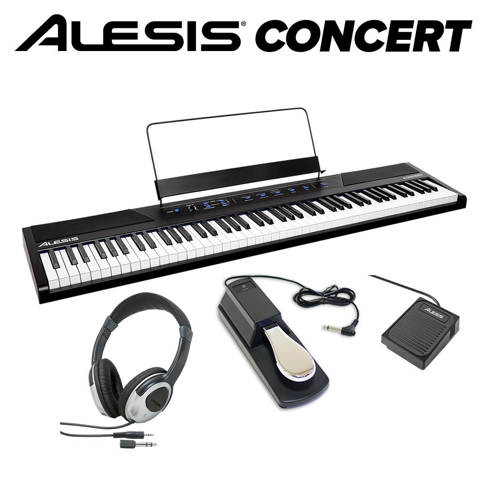 ALESIS Concert 本格ペダル+ヘッドホンセット 電子ピアノ フルサイズ・セミウェイト88鍵盤 【アレシス コンサート】