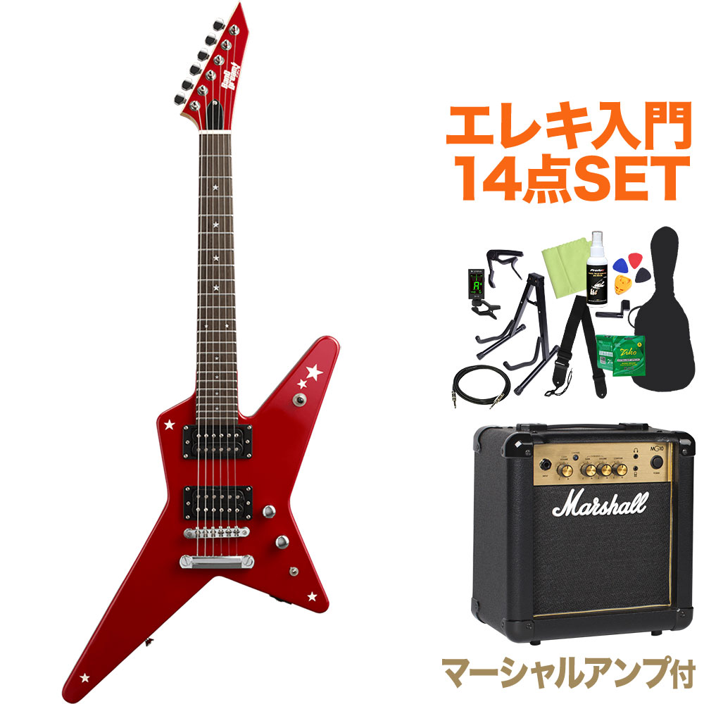 BanG Dream! RANDOM STAR Kasumi Mini Kasumi Red エレキギター初心者14点セット【マーシャルアンプ付き】 Poppin'Party 戸山香澄 モデル 【バンドリ】