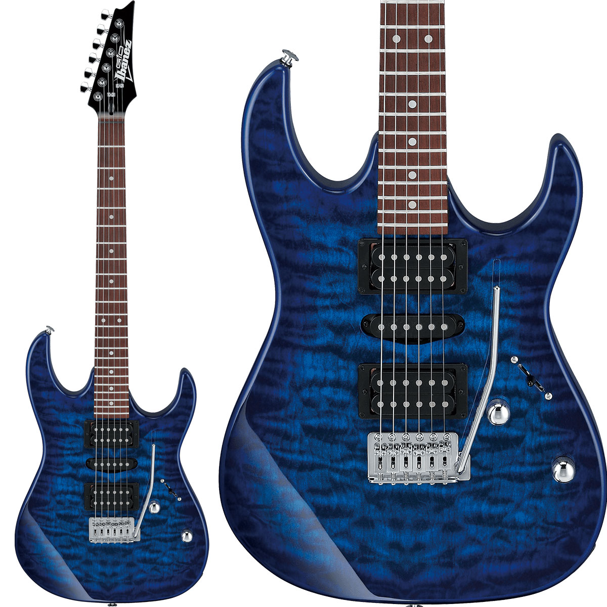 Gio Ibanez GRX70QA TBB (Transparent Blue Burst) エレキギター 【ジオ アイバニーズ】【純正アクセサリーキット付属】