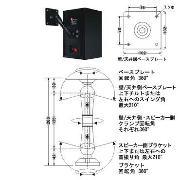 JBL 壁/天井用ユニバーサルブラケット・ブラック【1本】MTC-U1 MTC-U1BK